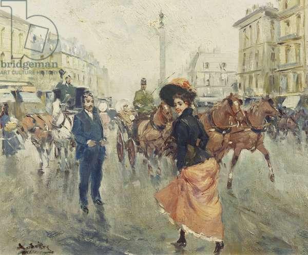 A Parisian Street Scene, (oil on panel)