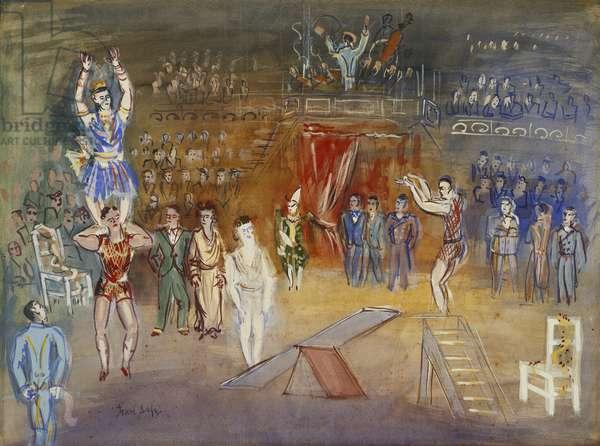 Circus Scene; Scene de Cirque, (gouache on paper)