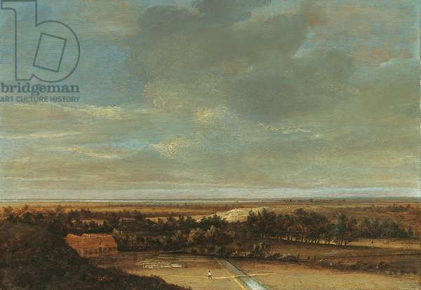 An extensive dune landscape with a farmhouse and a bleaching ground (oil on panel)