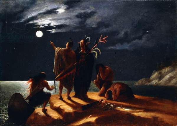 Indians Experiencing a Lunar Eclipse, c.1848-50 (oil on canvas)