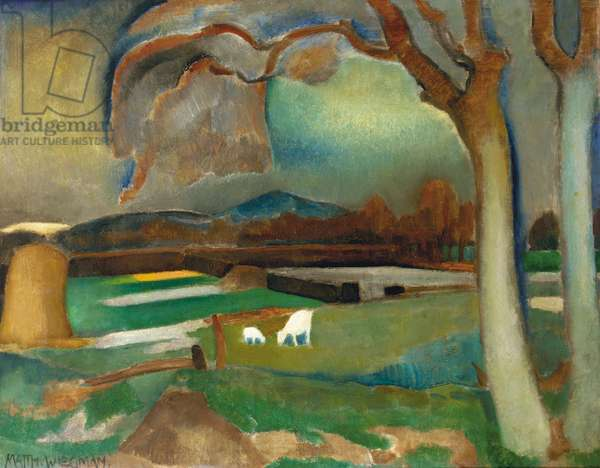 Evening landscape with goats, c.1915-20 (oil on canvas)