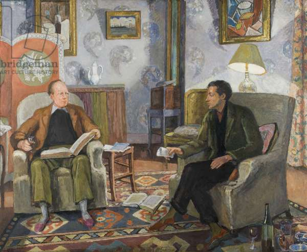 Clive Bell and Duncan Grant in the Sitting Room at Charleston, c.1920-25 (oil on canvas)