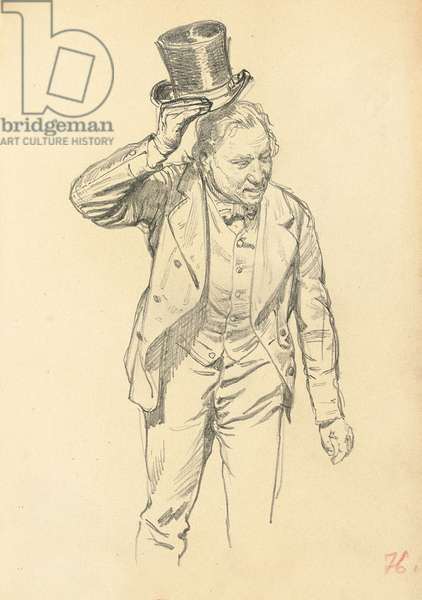 Man Tipping his Hat, c. 1872-1875 (pencil on paper)