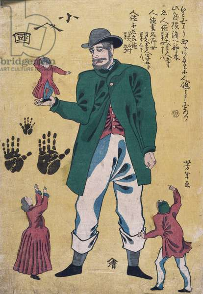 A Giant with Midgets (colour woodblock prrint)