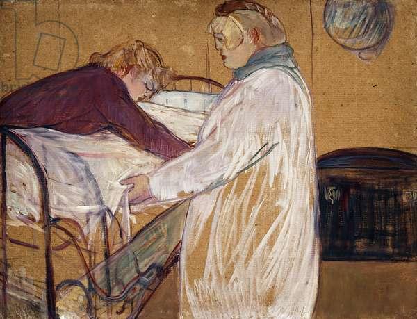 Two Woman Making their Bed; Deux Femmes Faisant leur Lit, 1891 (oil on board)