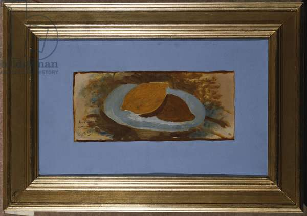 Lemon on a Plate (oil on paper laid on canvas)