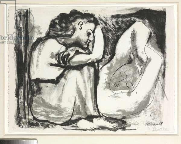 Seated woman and sleeper, 1947 (litho)