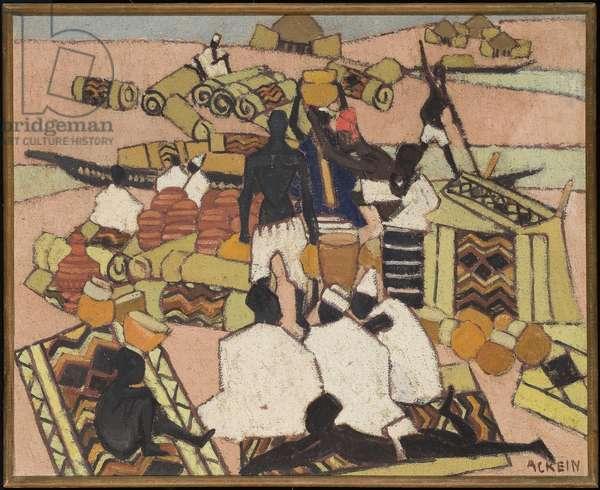 The carpet market in Mopti (oil on canvas)