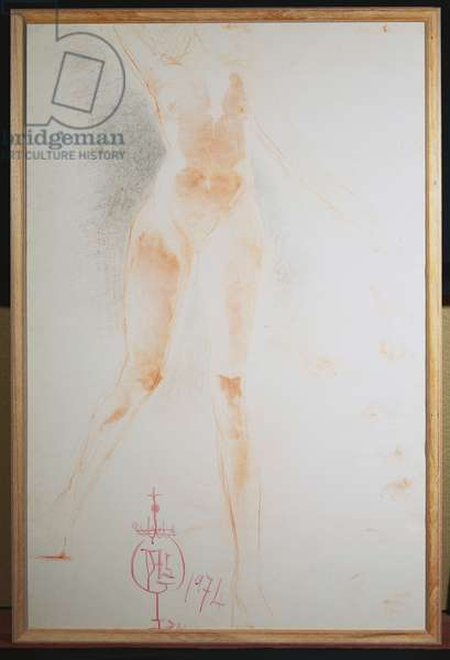 Floating Woman, 1974 (w/c, wax crayon & pencil on styrofoam board)