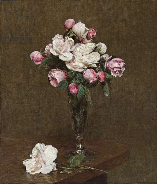 Pink and White Roses in a Champagne Flute, 1874 (oil on canvas)
