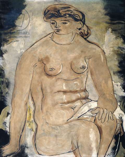 Woman Sitting, c.1924 (oil and sand on canvas)