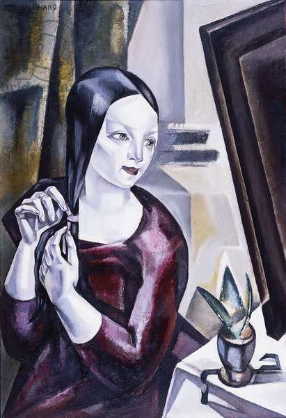 Woman before a mirror, 1922 (oil on panel)