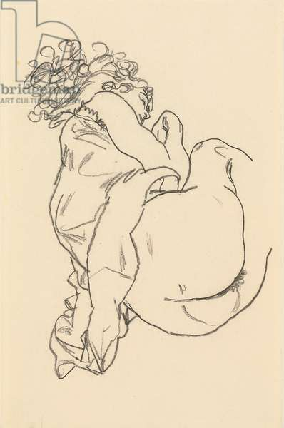 Nude Lying Down; Liegende, 1917 (black crayon on paper)