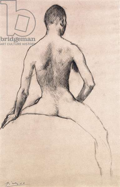 Young Man and Horse, 1906 (charcoal on grey paper)