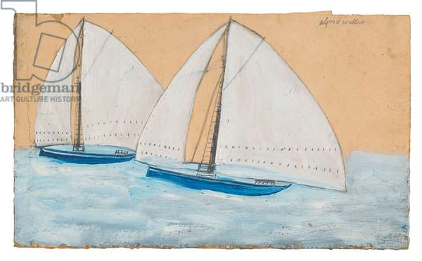Two Sailing Boats,  (pencil and oil on card)