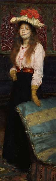 Portrait of Miss MacWirter, small full length in an interior, 1888 (oil on panel)