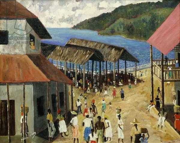 Coastal Village in Jamaica, (oil on canvas)