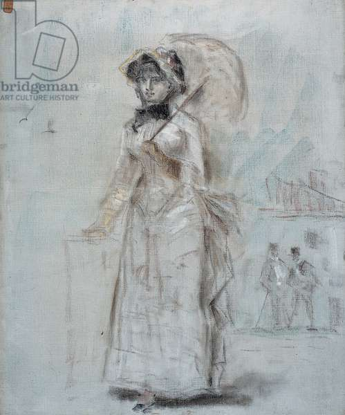 Woman walking with an open umbrella, 1880 (pastel on canvas)