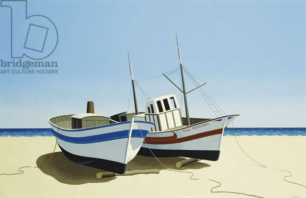 Portugese Fishing Boats, 1975 (oil on canvas)