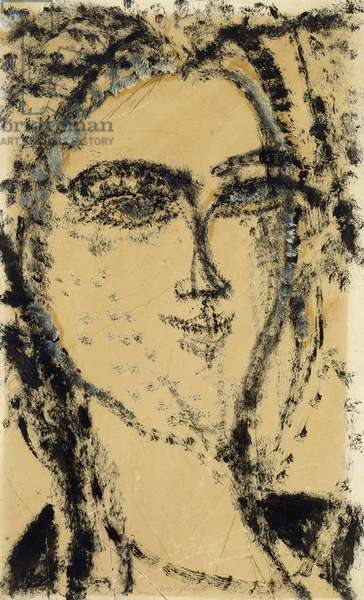 Head of a Woman, 1915 (oil and gouache over pencil on tan paper laid down on board)