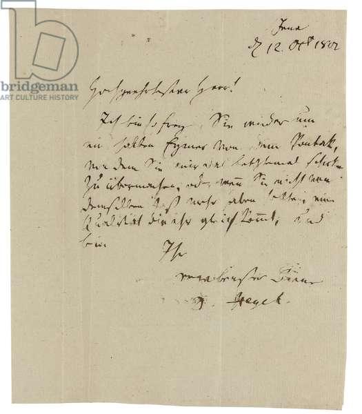 Autograph letter to Gebruder Ramann (wine-merchants in Erfurt), Jena, 12th October 1802 (pen & ink on paper)