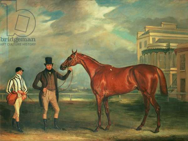 General Chasse, a chestnut racehorse being held by his trainer, with his jockey, J. Holmes standing by on Aintree racecourse, 1835 (oil)