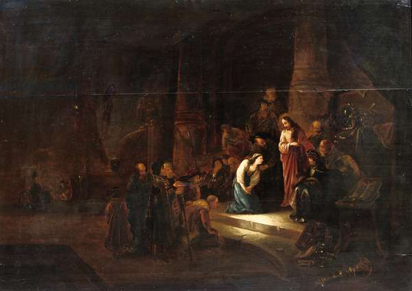 Christ and the woman taken in adultery (oil on panel)