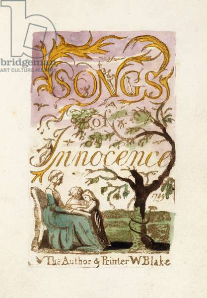 Title page, from 'Songs of Innocence', 1789 (hand-coloured relief-etched printed plate)