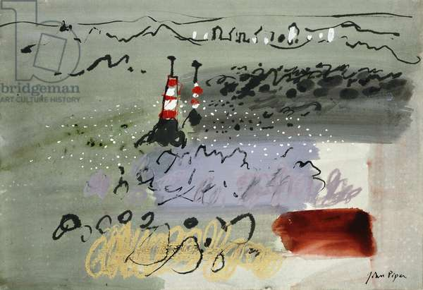 Coastline, (watercolour, gouache, brush, black ink and wax crayon, heightene)