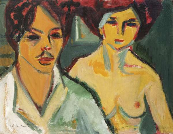 Self Portrait with Model, 1905 (oil on canvas)