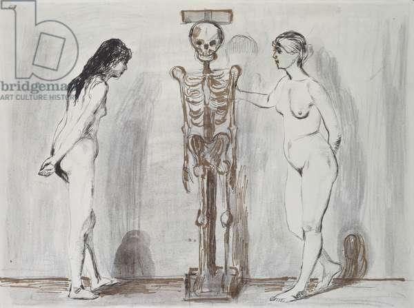 The Two Girls and the Skeleton (Life and Death); Die Beiden Madchen und das Gerippe (Leben und Tod), 1896 (drypoint etching)