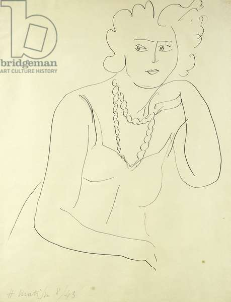 Woman's Necklace; Femme au Collier, 1943 (pen and ink on paper)