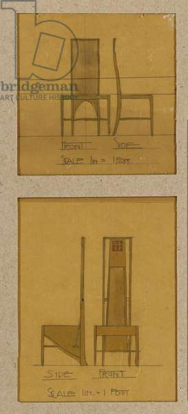 Designs for chairs shown in front and side elevations, for the Room de Luxe, Willow Tea Rooms, 1903 (pencil, w/c & bodycolour on oiled tracing paper)