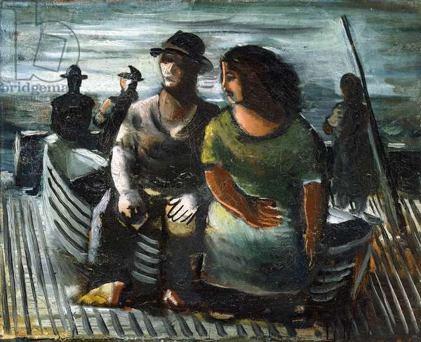 Fishermen at Port, c.1940 (oil on canvas)