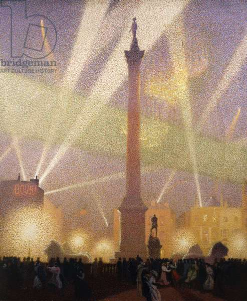 Fires of Victory, Trafalgar Square, 1918, 1918 (oil on canvas)