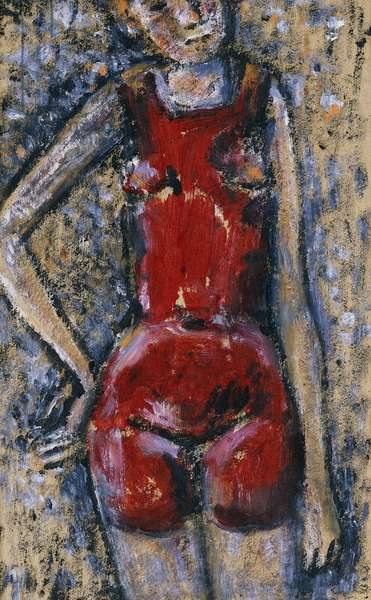 The Red Swimsuit; Le Maillot Rouge, (mixed media on paper)
