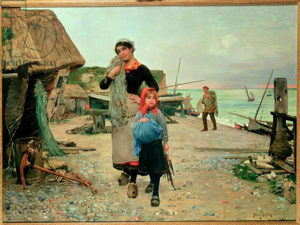 Fisherfolk Returning with their Nets, 1882 (oil on panel)