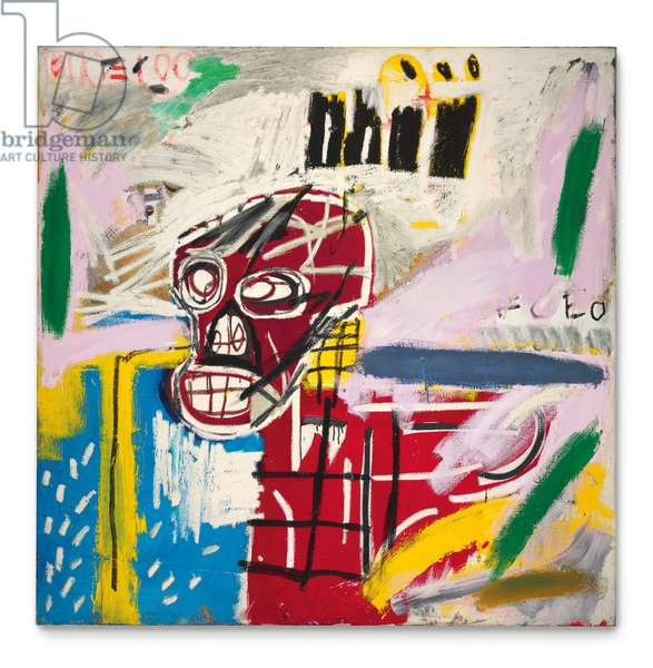 Red Skull, 1982 (acrylic, oilstick & paper collage on canvas)