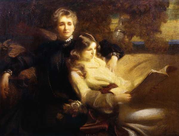 Mrs C.C. Greenwood and her Daughter, (oil on canvas)