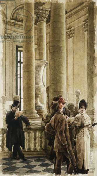 The Louvre (Foreign Visitors at the Louvre); Au Louvre (Visiteurs etrangers au Louvre), c.1879-80 (pencil and watercolour)