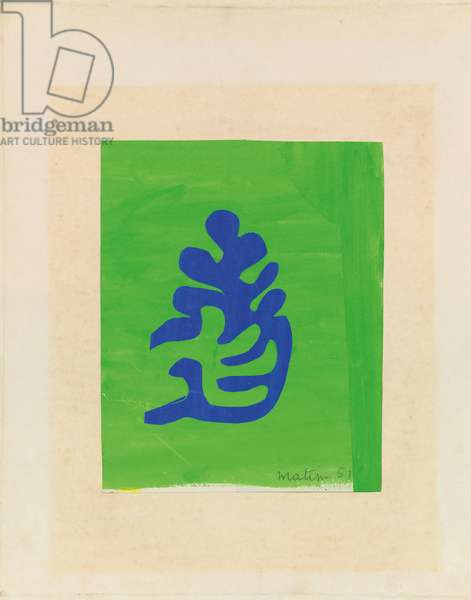 Small blue arabesque on a green background, 1951 (gouache & collage on paper)