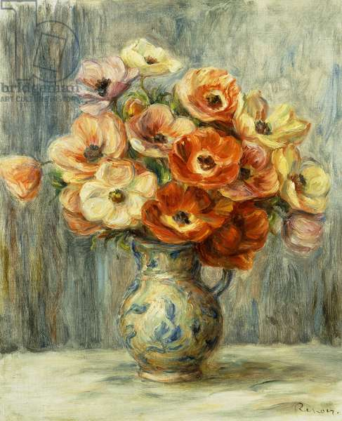 Vase d'Anemones, (oil on canvas)
