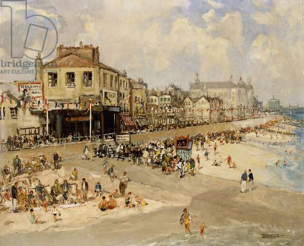 Punch and Judy Show, Hastings,  (oil on canvas)