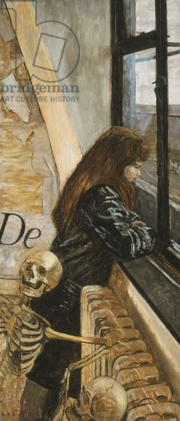 Girl with Skeletons, c.1959 (oil on board)