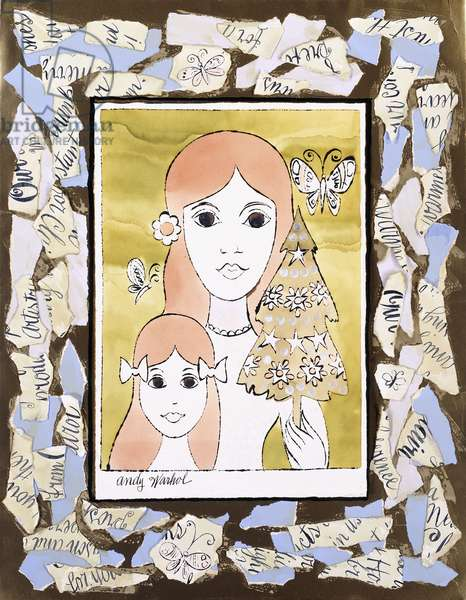 Mother and Child,  (watercolour and ink blot drawing with collage on gold paper)