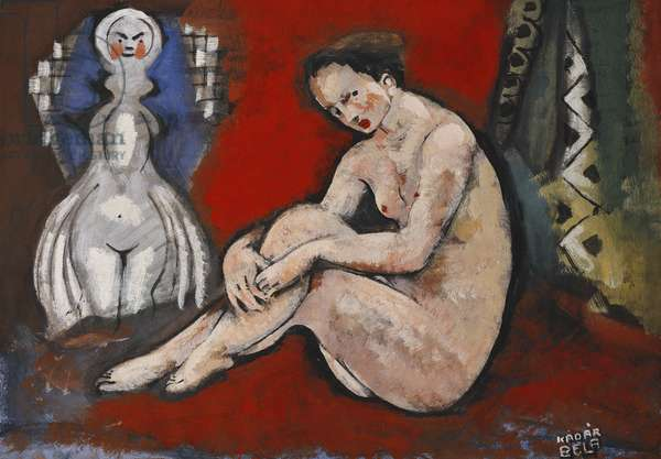 Nude Sitting; Nu Assis, (gouache on paper)
