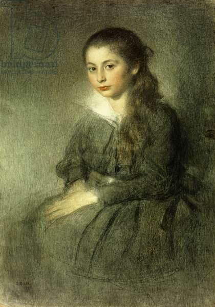 Portrait of a Young Girl, seated three quarter length, 1912 (pastel on paper)