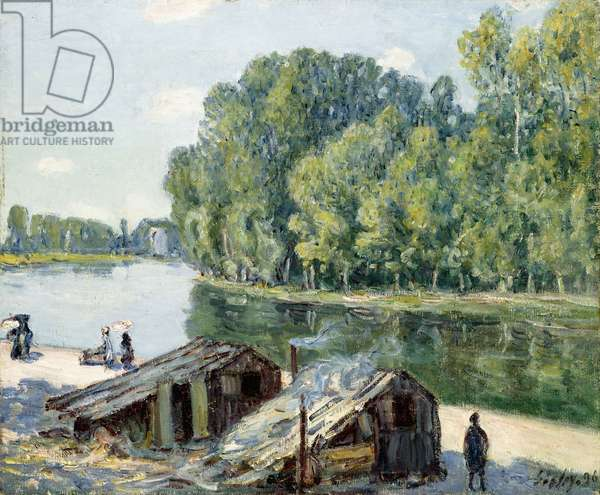 Huts along the Canal du Loing, effect of sunlight, 1896 (oil on canvas)