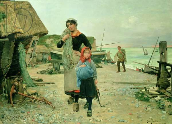 Fisherfolk Returning with their Nets, Etretat, 1882 (oil on panel)