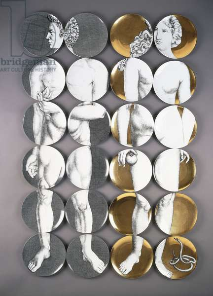 Eva (Gold) e Adamo (Black&White), 1954 (porcelain)